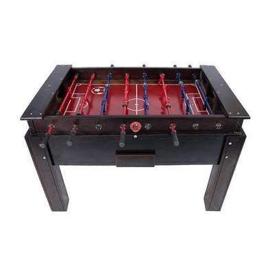Mesa de pebolim oficial em madeira maciça com gaveta e varão embutido cor Tabaco