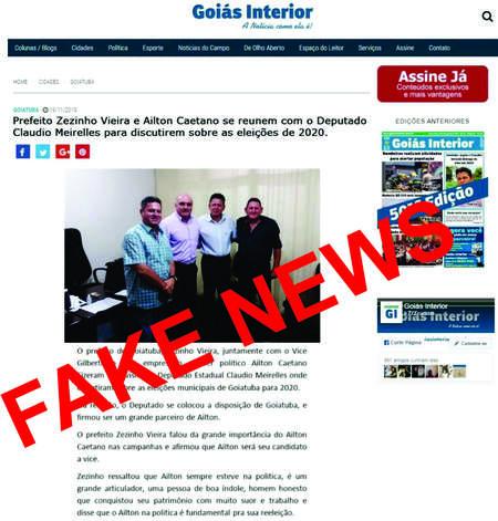 Goiás Interior denunciou fakes à Polícia